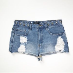 Forever 21 High Rise Distressed Stud Jean Shorts